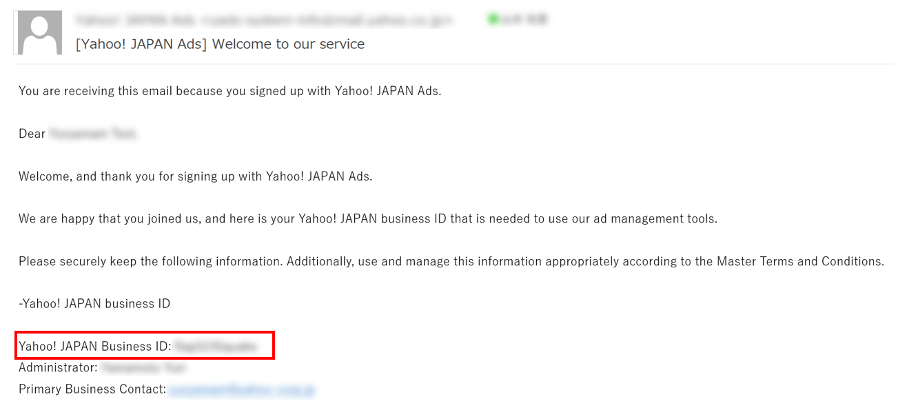 YahooAds application email