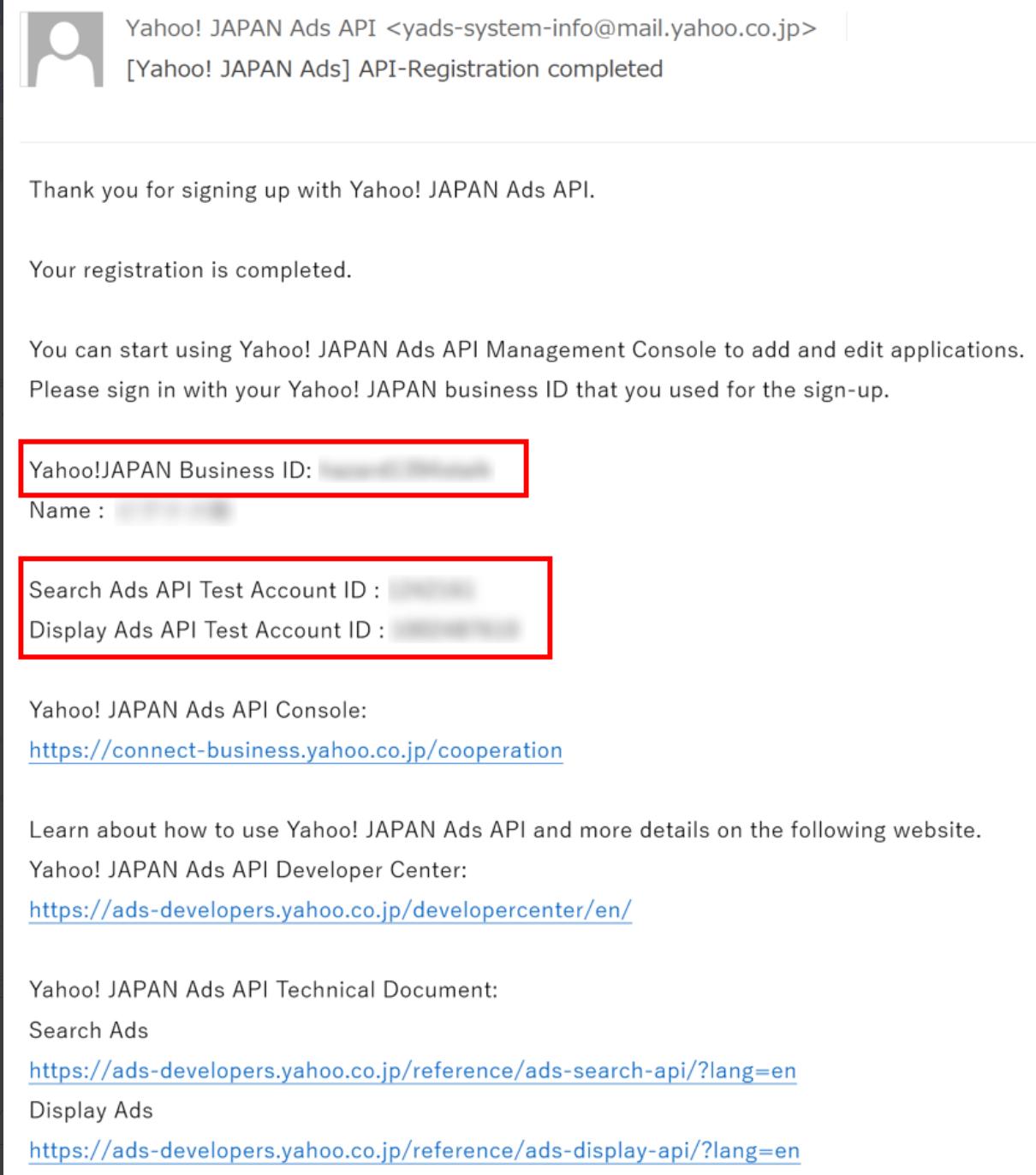 Yahoo Ads API application email