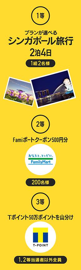 一等プランが選べるシンガポール旅行2等Famiポートクーポン500円分山分け賞Tポイント50万ポイントを山分け