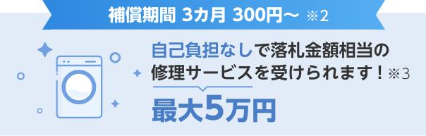 保険に加入すると自己負担なしで最大5万円の修理サービスが受けられます!