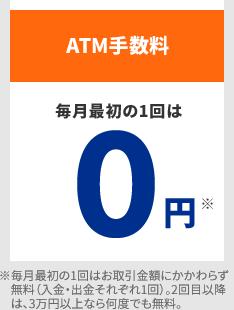 ATM手数料 毎月最初の1回は0円 ※毎月最初の1回はお取引金額にかかわらず無料(入金・出金それぞれ1回)。2回目以降は、3万円以上なら何度でも無料。
