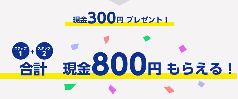 さらに現金300円合計現金800円