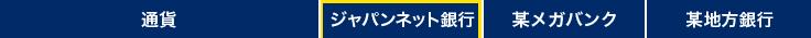 通貨 ジャパンネット銀行 某メガバンク 某地方銀行