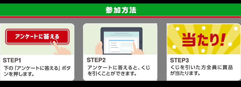 参加方法 STEP1「アンケートに答える」ボタンを押します STEP2 アンケートに答えると、くじを引くことができます STEP3 くじを引いた方全員に賞品が当たります