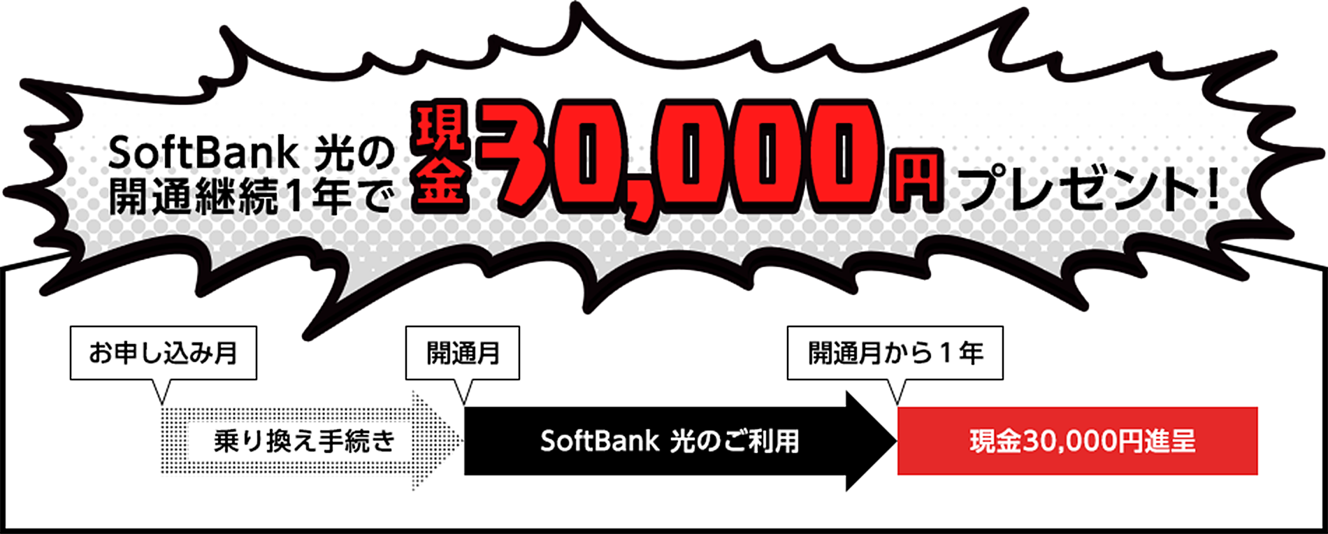SoftBank 光の開通継続1年で現金30,000円をプレゼント!