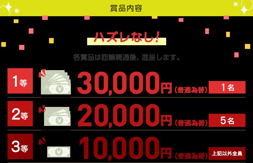 賞品内容 ハズレなし! 各賞品は対象の回線開通後に、進呈します。1等 30,000円(普通為替)1名 2等 20,000円(普通為替)5名 3等 10,000円(普通為替) 上記以外全員