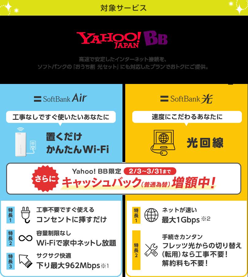 対象サービス Yahoo! BB 高速で安定したインターネット接続を、ソフトバンクの「おうち割 光セット」にも対応したプランでおトクにご提供 SoftBankAir 工事なしですぐ使いたいあなたに 置くだけ かんたんWi-Fi Yahoo! BB限定 2/3から3/31まで さらにキャッシュバック(普通為替)増額中! 特長1 工事不要ですぐ使える コンセントに挿すだけ 特長2 容量制限なし Wi-Fiで家中ネットし放題 特長3 サクサク快適 下り最大962Mbps※1 SoftBank 光 速度にこだわるあなたに 光回線 Yahoo! BB限定 2/3から3/31まで さらにキャッシュバック(普通為替)増額中! 特長1 ネットが速い 最大1Gbps※2 特長2 手続きカンタン フレッツ光からの切り替え(転用)なら工事不要! 解約料も不要!