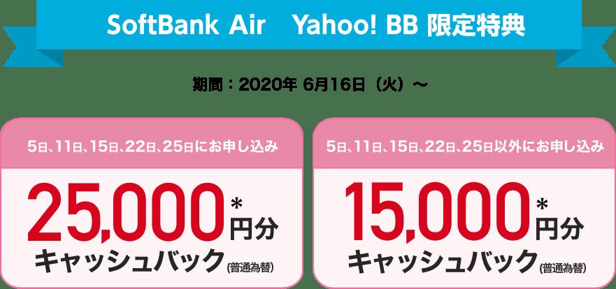 SoftBank Air Yahoo! BB限定特典 期間:2020年6月16日(火)〜 5日、11日、15日、22日、25日にお申し込み 25,000円分*キャッシュバック(普通為替) 5日、11日、15日、22日、25日以外にお申し込み 15,000円分*キャッシュバック(普通為替)