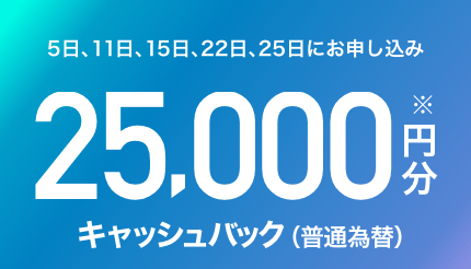 5日、11日、15日、22日、25日にお申し込み 25,000円分※キャッシュバック(普通為替)