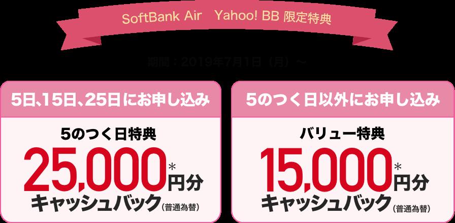 SoftBank Air Yahoo! BB限定特典 期間:2019年7月1日(月)〜 5日、15日、25日にお申し込み 5のつく日特典 25,000円分*キャッシュバック(普通為替) 5のつく日以外にお申し込み バリュー特典 15,000円分*キャッシュバック(普通為替)