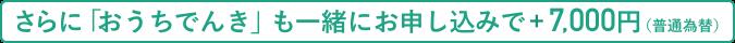 さらに「おうちでんき」も一緒にお申し込みで+7,000円(普通為替)
