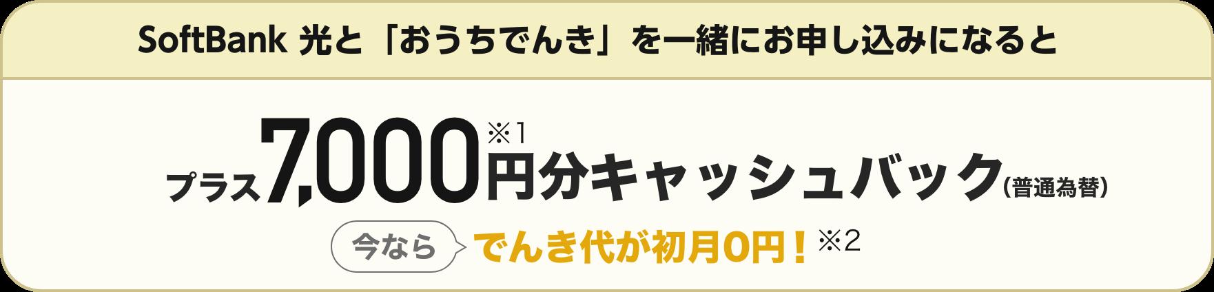 SoftBank 光と「おうちでんき」を一緒にお申し込みになると プラス7,000円分※1キャッシュバック(普通為替) 今ならでんき代が初月0円! ※2