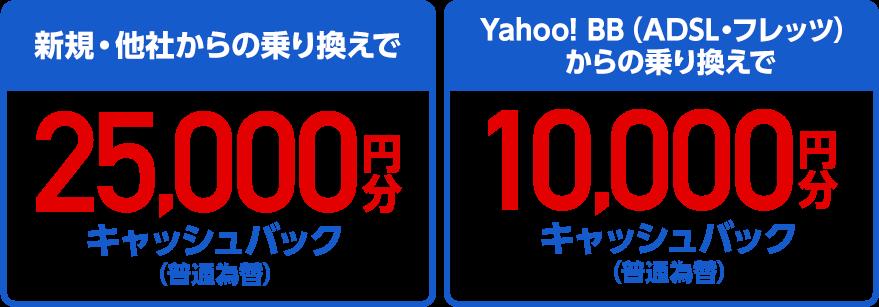 新規・他社からの乗り換えで25,000円分キャッシュバック(普通為替)Yahoo! BB(ADSL・フレッツ)からの乗り換えで10,000円分キャッシュバック(普通為替)