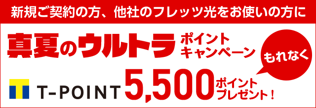 新規ご契約の方、他社のフレッツ光をお使いの方に真夏のウルトラポイントキャンペーンもれなくポイント5,500ポイントプレゼント!