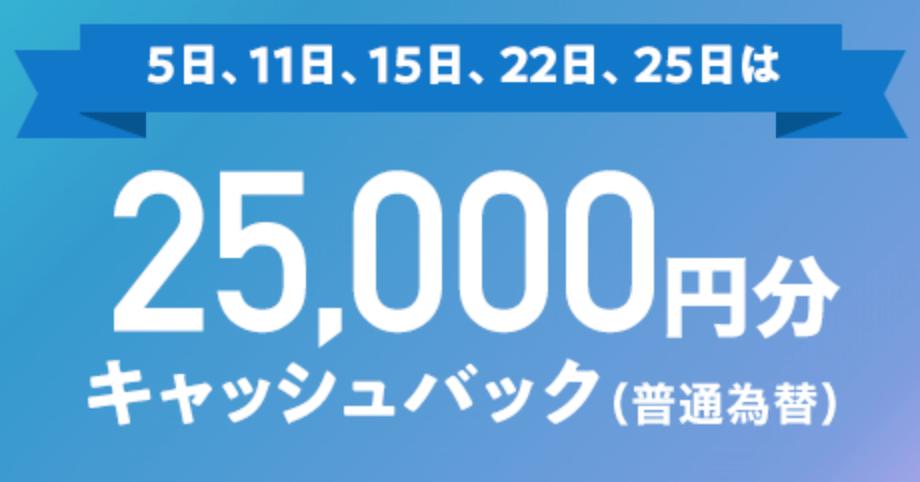 5のつく日、ゾロ目の日(5日、11日、15日、22日、25日)にお申し込みで最大25,000円キャッシュバック。