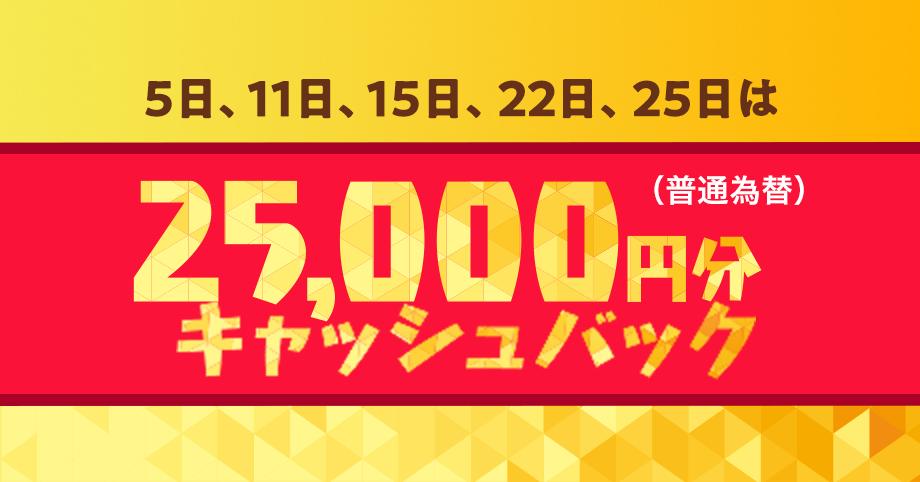 5日、11日、15日、22日、25日は25,000円分キャッシュバック(普通為替)