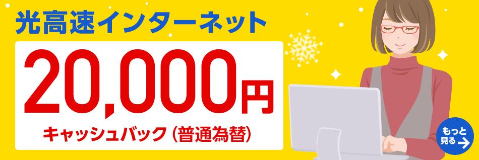 光高速インターネット20,000円キャッシュバック(普通為替)もっと見る