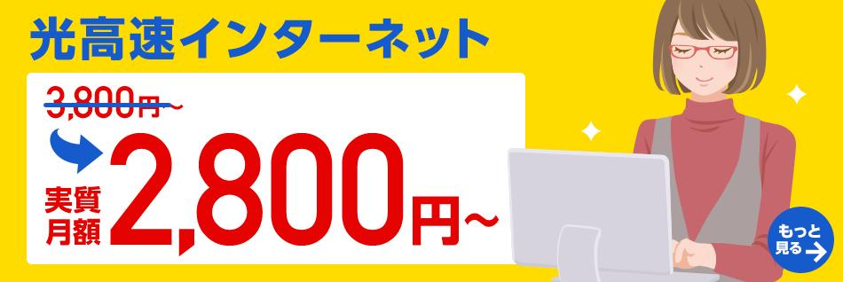 光高速インターネット実質月額2,800円~もっと見る