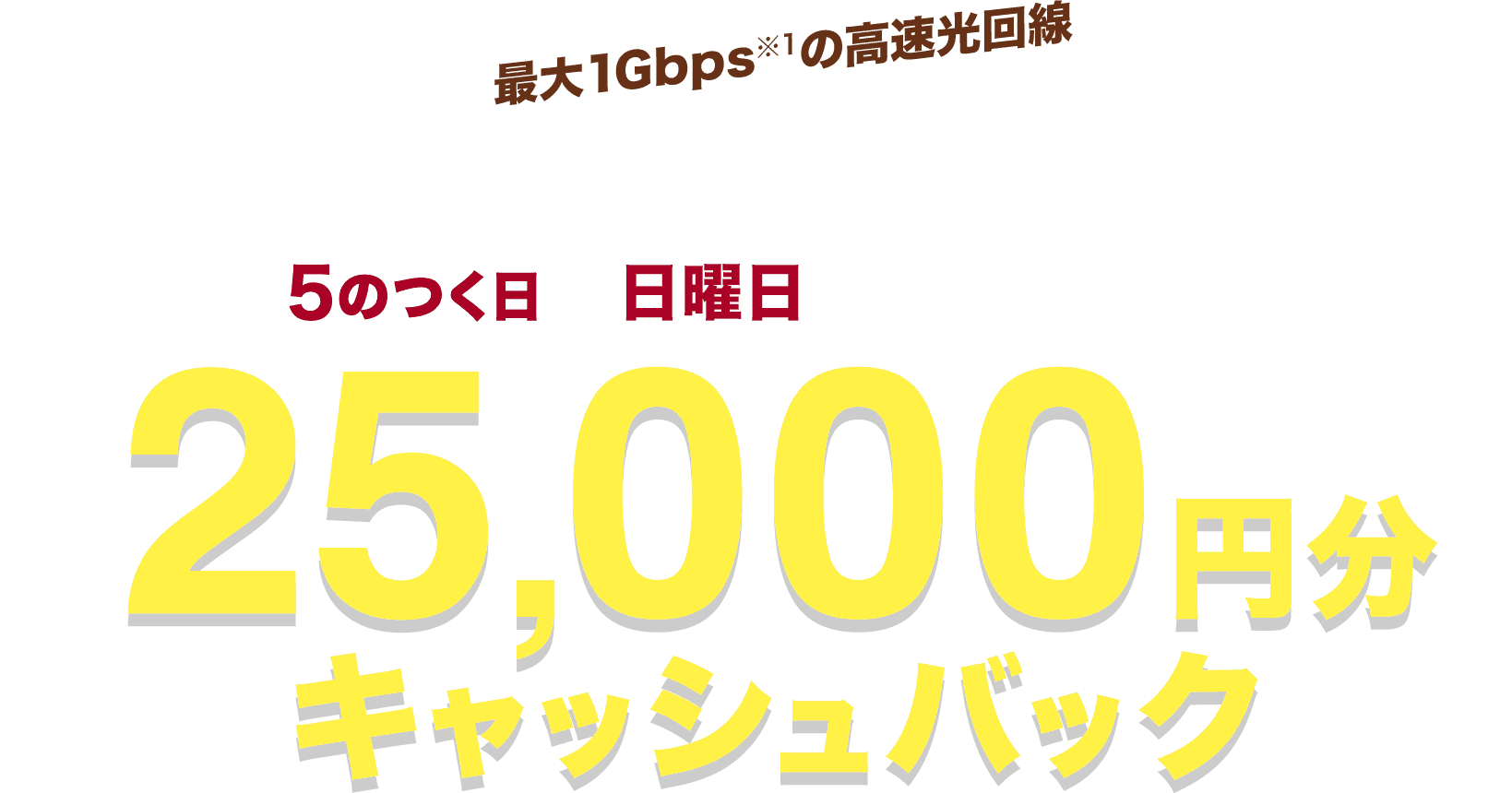 最大1Gbps※1の高速光回線 毎月5日・15日・25日・日曜日 5のつく日、日曜日にお申し込みで 25,000円分キャッシュバック(普通為替)※2