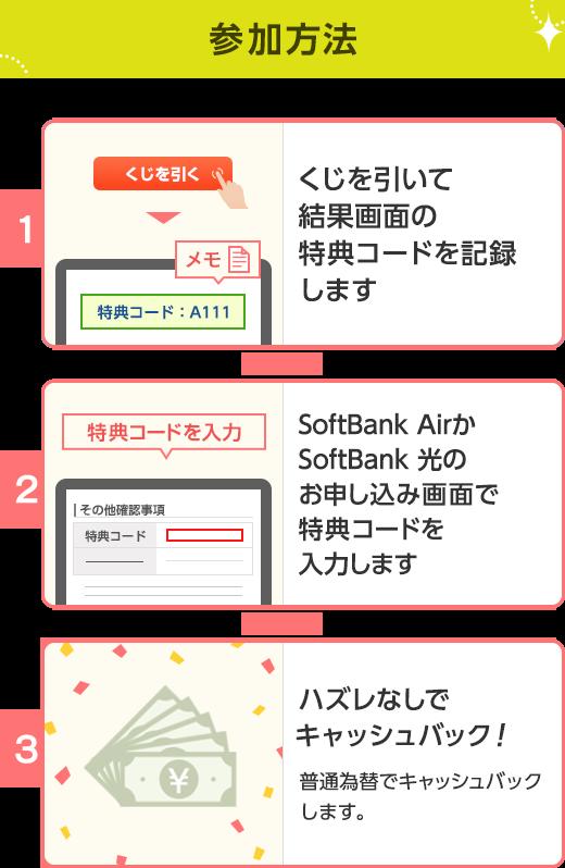 参加方法 1.くじを引いて結果画面の特典コードを記録します 2.SoftBank AirまたはSoftBank 光のお申し込み画面で特典コードを入力します 3.ハズレなしでキャッシュバック! 普通為替でキャッシュバックします
