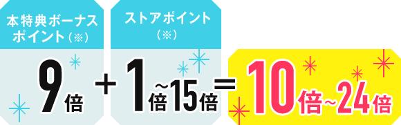 本特典ボーナスポイント(※)9倍+ストアポイント(※)1倍~15倍=10倍~24倍
