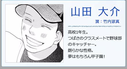 山田大介/演:竹内涼真   高校1年生。つばさのクラスメートで野球部のキャッチャー。朗らかな性格。夢はもちろん甲子園!