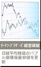 リーマン・ブラザーズが経営破綻 日経平均株価がバブル崩壊後最安値を更新