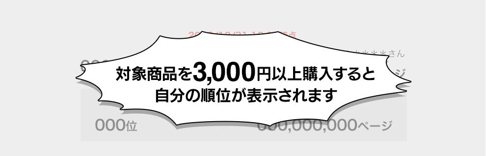 対象商品を3,000円以上購入すると自分の順位が表示されます