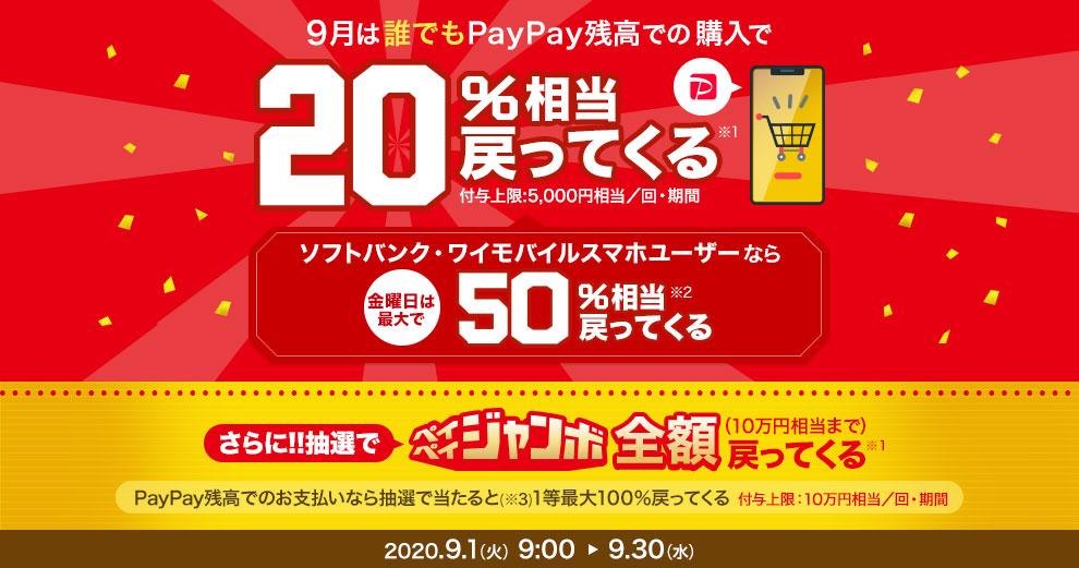 9月は誰でもPayPay残高での購入で20%相当戻ってくる