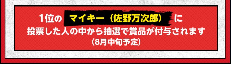 1位マイキー(佐野万次郎)に投票した人の中から抽選で賞品が付与されます(8月中旬予定)