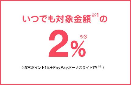 いつでも対象金額の2%(通常ポイント1%+PayPayボーナスライト1%)