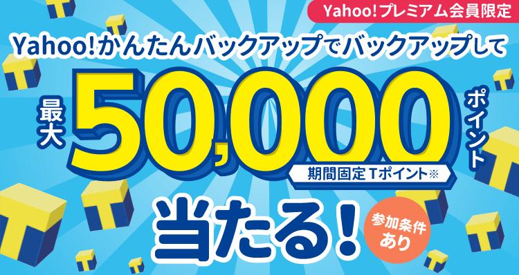 Yahoo!かんたんバックアップでバックアップして最大50,000ポイント(期間固定Tポイント※)が当たる!