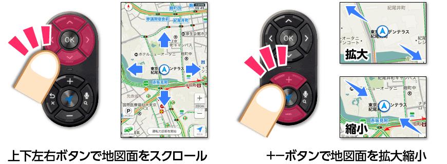 上下左右ボタンで地図面をスクロール +ーボタンで地図面を拡大縮小