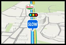速度が出やすい区間に近づくとアイコンで表示