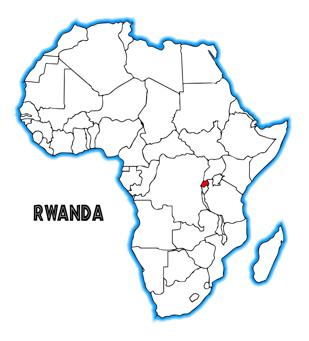 アフリカの地図。赤く塗られているのがルワンダ