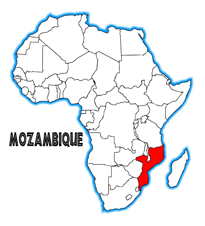 アフリカの地図。赤く塗られているのがモザンビーク