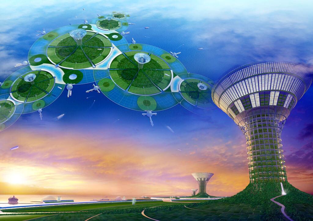「海洋未来都市構想GREEN FLOAT」(画像提供:清水建設株式会社)