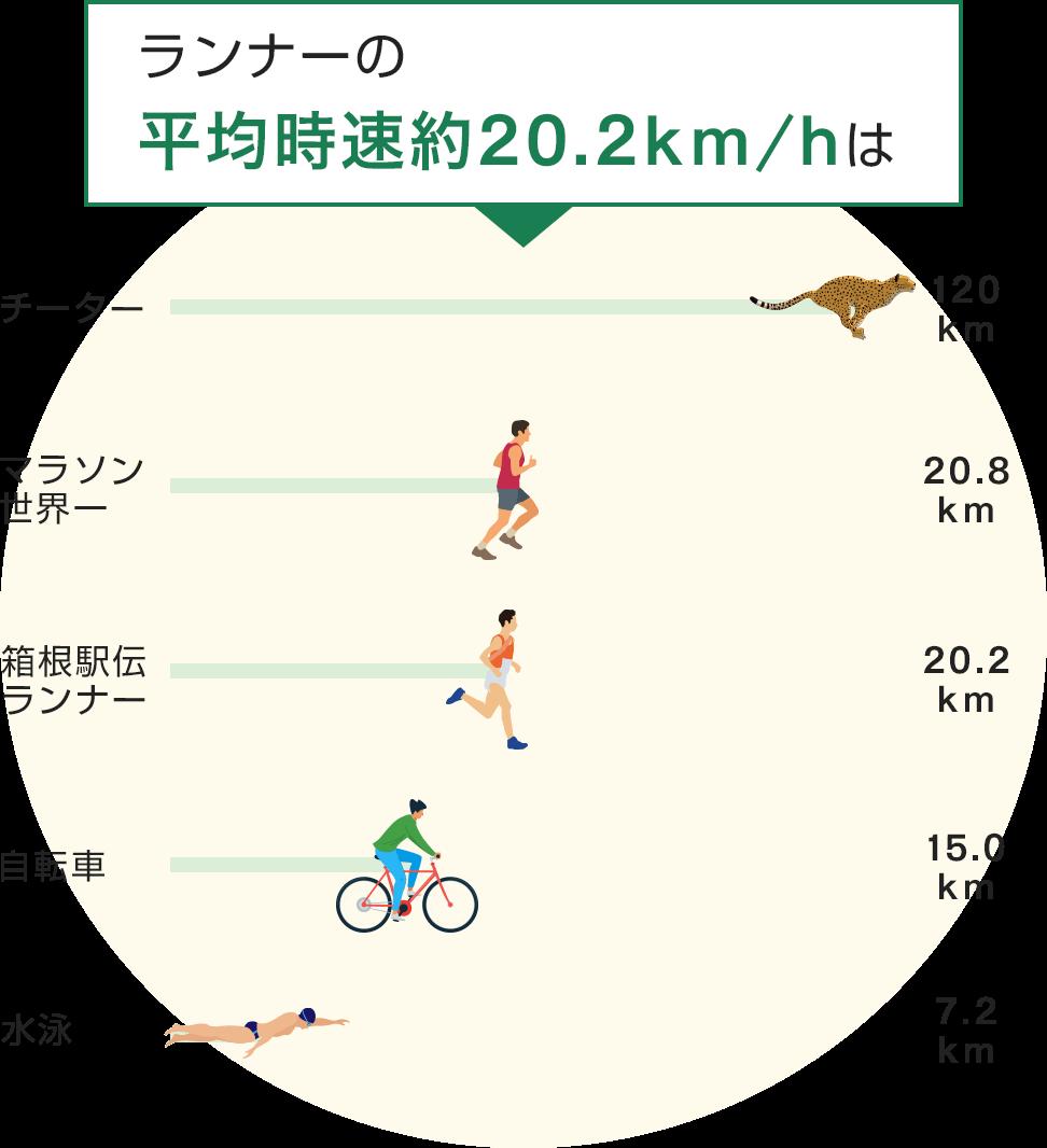 ランナーの平均時速約20.18km/hは