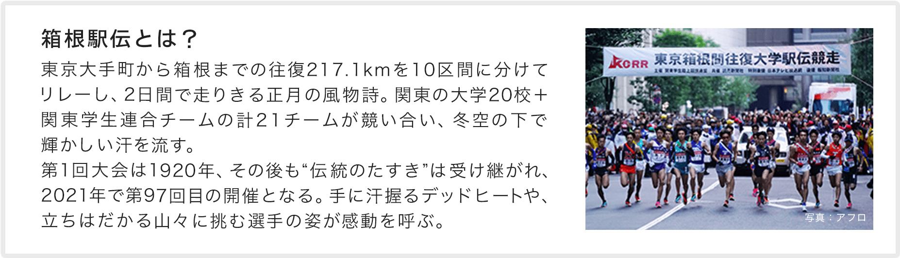 箱根駅伝とは? 東京から箱根までの往復217.1kmを10区間に分けてリレーし、2日間で走りきる正月の風物詩。