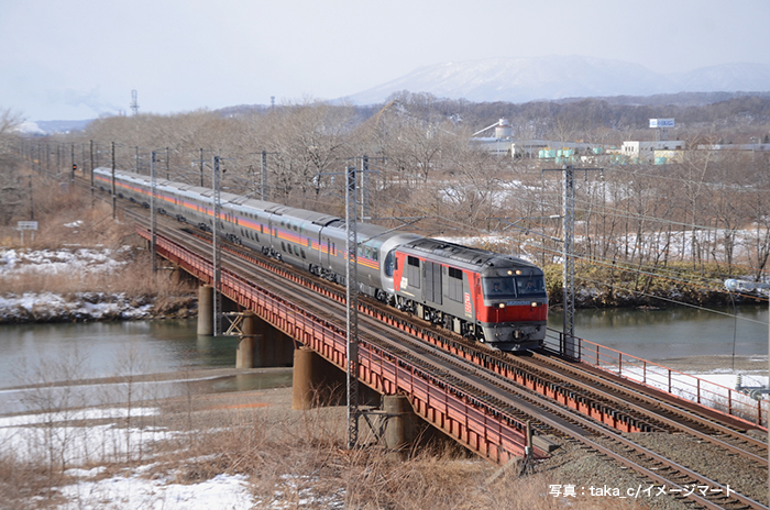 白老川の鉄橋を渡る「カシオペアクルーズ」