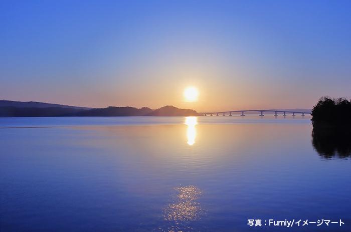 七尾市 能登島の夜明け