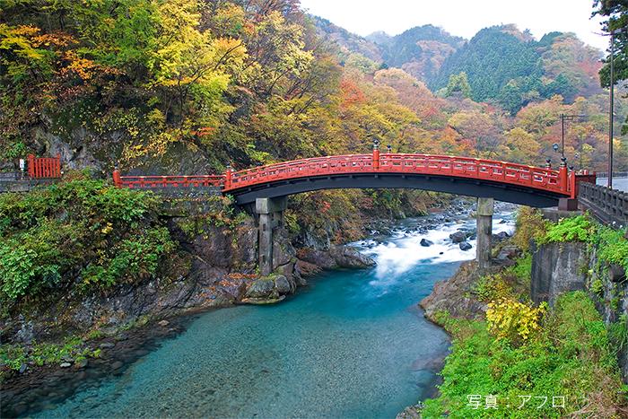 聖火リレーが通る神橋(世界遺産)