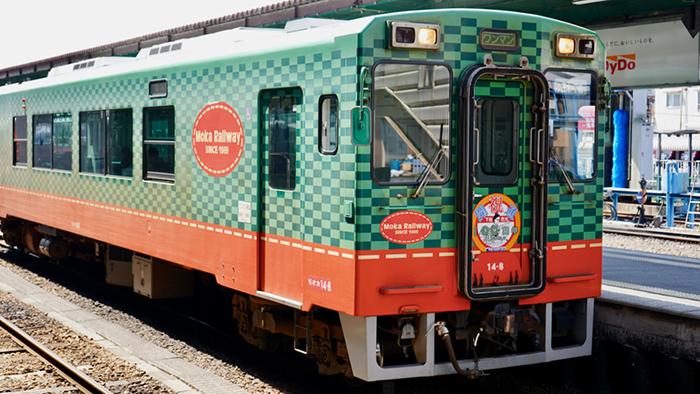 緑とオレンジが鮮やかな真岡鐵道の車両