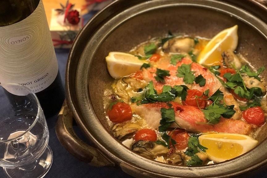 糀(こうじ)で時短レシピ「土鍋ひとつで簡単! キンメとカキで糀アクアパッツア」