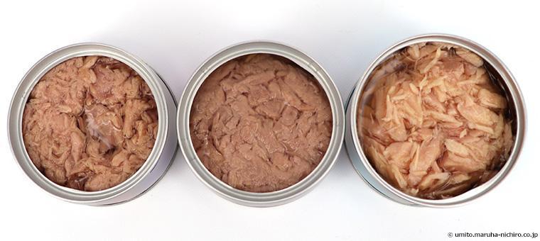 ツナ缶 左:カツオ、中:キハダマグロ、右:ビンナガマグロ