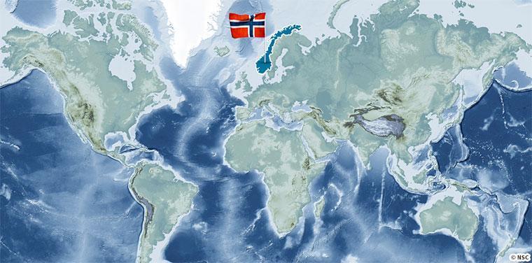 世界地図でノルウェーを確認すると入りくんだ地形がわかる
