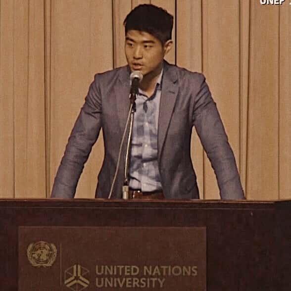 UNEPフォーラムでの講演の様子。写真提供=産通