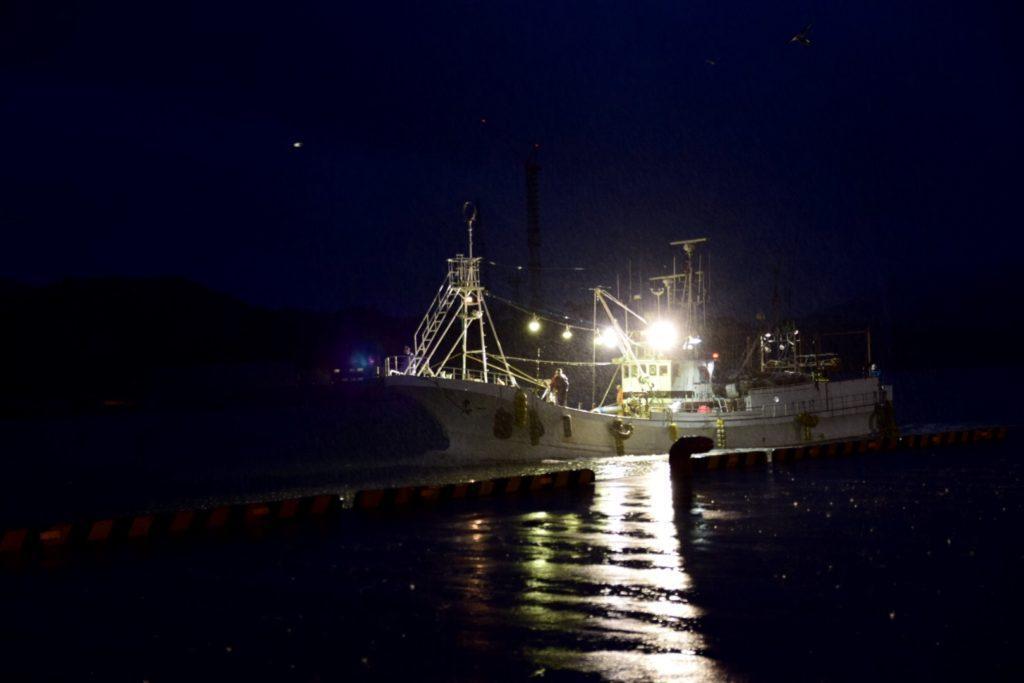 暗い中帰港する船