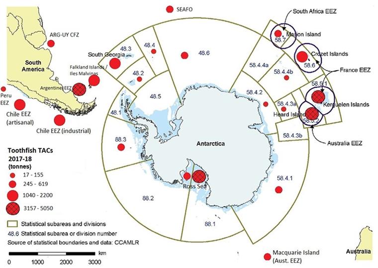 南極大陸の周りに広がるメロの漁場と漁獲枠