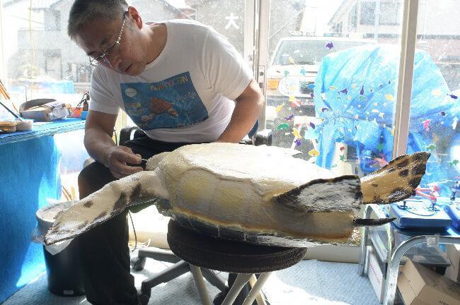 寿司桶で作られた亀ロボットを調整中